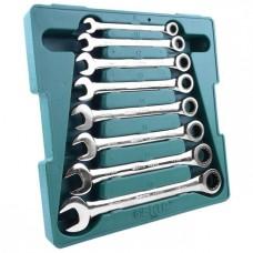 Kombinēts uzgriežņu atslēgu komplekts ar tarkšķi 8pcs. (8-19) S08008